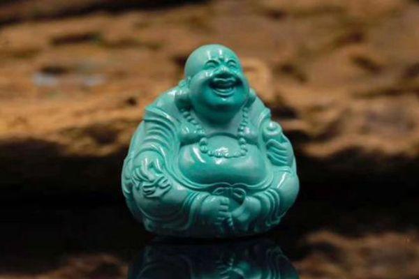 高瓷绿松石佛像