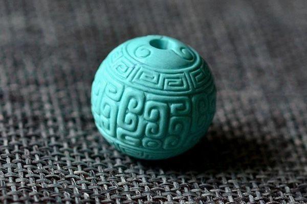 真的绿松石回纹珠