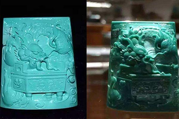 绿松石龙牌盘玩前后对比图片