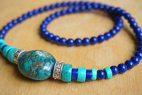 松石和青金石搭配的手串