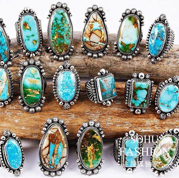 一打华丽丽的古董绿松古戒指